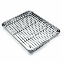 TeamFar Baking Tray and Rack Set Stainless Steel Baking Pan Cookie Sheet Cooling