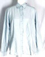 Eddie Bauer Women's XL Blouse Blue Long Sleeves Button Down Ruffle Cotton