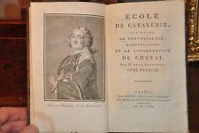 Ecole de cavalerie.- M. de la Guerinière.- Tome I seul.- 1802