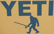 "YETI SASQUATCH BIGFOOT FISHING STICKER  FITS YOUR COOLER BLUE 8X5"""
