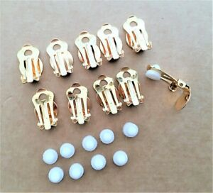 10 x Gold Tone Clip On Earring Backs Findings with Rubber Comfort Pad