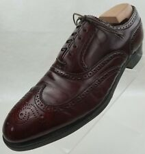 French Shriner Oxford Wing Tip Brogue Mens Brown Leather Lace Up Shoes Size 9B