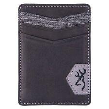 Browning Black Leather Front Pocket Billfold Wallet Money Clip
