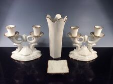 Lenox Meridian Ivory with Gold Trim Vase W/Dish, RARE Double Candlestick Holders