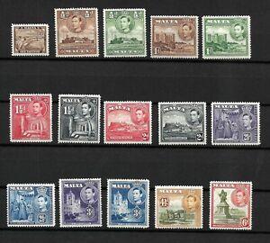 Malta, 1938 KGVI pictorials, complete set to 6d MNH (M206)