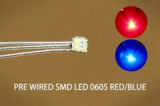 DT0605RB 20pcs Pre-soldered litz wired leads Bi-color RED/BLUE SMD Led 0605 DUAL