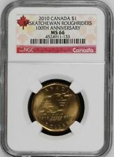 2010 CANADA SASKATCHEWAN ROUGHRIDERS 100TH ANNIVERSARY $1 NGC MS66