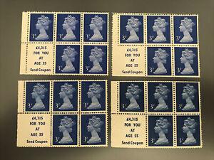 Royal Mail 1971 MNH 4*Bklt Panes of 5+labels SG USB36, 37 & 38 Cat val £39.25