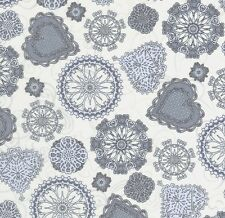 Heartsong Blue and Grey Hearts & Flowers on Ivory Cotton Fabric - FQ