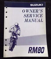 GENUINE 1997 1998 SUZUKI 80 RM80 MOTORCYCLE OWNER'S SERVICE MANUAL VERY CLEAN