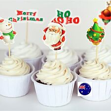 24P Merry Christmas Party Santa Cupcake Cakes Decorating Toppers Picks Flags Set