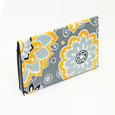 Business Card Cases Women's Wallet Card Wallet Small Gift - yellow grey flowers