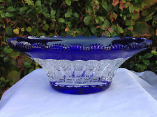 """BOHEMIA COBALT BLUE QUEEN LACE HAND CUT 24% LEAD OVAL WIDE TOP CRYSTAL BOWL 12"""""""