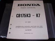 Nos Honda Oem Parts Catalog Manual 1969-1973 Cb175 K3-K7