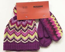 Missoni for Target Children's Knit Hat and Mittens Set Grape Zigzag NWT