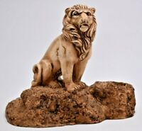 "Vintage 70s Carved Faux Wood Ricardo Lion Candle Holder 8""x3.75""x7"" Jungle Cat"