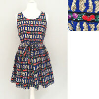 H! Henry Holland Dress 12 Blue Belt FRUIT BERRY PRINT Quirky Party Rockabilly