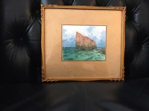 W.M. Mitchell Watercolor with Hand Carved Frame