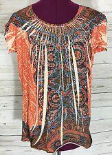 B. Friends Orange Blue Batik Print Top Blouse Size XL Fits L