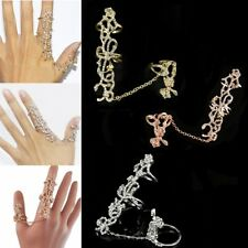 Womens Ladies Girls Two Finger Silver Ring Crystal Rings w/ Chain Jewelry