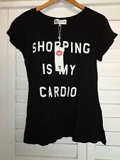 NWT WILDFOX COUTURE Shopping Is My Cardio Tee Shirt T-Shirt Top X-Small XS Black