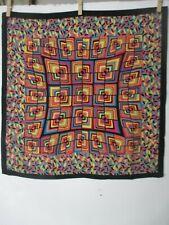 MISSONI silk scarf w black border & graphic optical illustration pattern