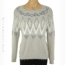 LC Lauren Conrad Small Gray Fuzzy Sweater Long Sleeve Soft Ski Top XL