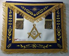 Master Mason Apron Navy Blue Gold Compass & Square G & Fringe