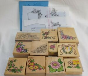 Wood Mount Rubber Stamp Lot Realistic Floral  - Rose & other Flowers