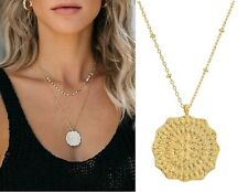 NEW Authentic GORJANA Mosaic Coin Pendant Gold Plated Chain Necklace