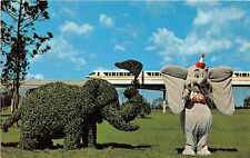 Walt Disney World postcard dumbo and topiary monorail