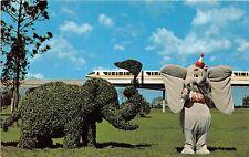 Walt Disney World postcard dumbo and topiary monorail