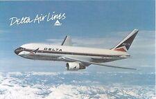 Airplane advertising postcard Delta Airlines Boeing 767 twin-jet plane in flight