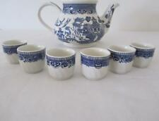 Vintage Set 6 Blue Willow EGG CUPS Made In England Exc Con