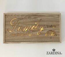 "LED Lit Wall Plaque ""Family is where our story begins"""