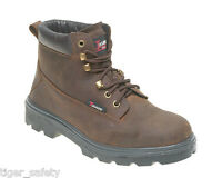 """Toesavers 1101 S3 SRC Classic 6"""" Brown Leather Steel Toe Cap Safety Work Boots"""