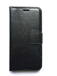 Smartphone Book Case For Iphone X/XS Black Leather Style Wallet Flip Cover