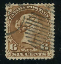 Canada 1868 Large Queen 6c yellow brown #27a VF Duplex cancel
