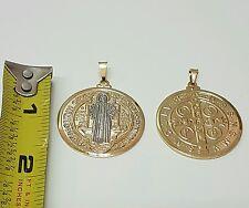 """Talisman Medalla de san benito bañada en oro 1-1/2"""" oracion y instrucciones !"""