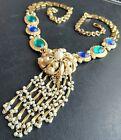 Sign CROWN TRIFARI Vintage Pearl Rhinestone Sapphire Emerald Glass Necklace 539