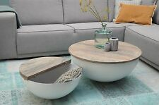 DESIGN Couchtisch Mango Holz Sophie metall rund Beistelltisch Halbkugel 60x30cm