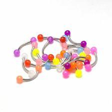 Eyebrow Ring Piercing Curved Barbell 20 Pack Glow In The Dark Tragus Rook 16G