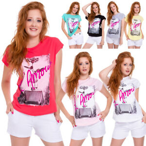 Ladies Short Sleeves Tee New T-Shirt Amour Crew Neck Top Loose Fit Blouse FB321