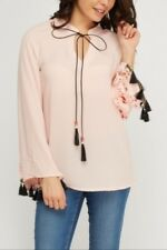 Belle peach lace insert flare sleeve sheer top, Diva Trend, UK size 8-10