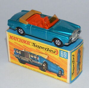 MATCHBOX SUPERFAST #69a ROLLS ROYCE SILVER SHADOW *YELLOW BASE* NEAR MINT BOXED