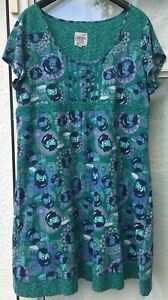 Mantaray Cap Sleeve Cotton Dress In Greens & Blue Size 20