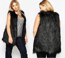 Womens Faux Fox Fur Shaggy Waistcoat Long Vest Sleeveless Jacket Plus Size M