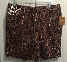 NWT~ELLEN TRACY ☆ LEOPARD PRINT SHORTS ☆ Sz 10 ☆ Black Brown ☆ Stretch  ☆$49.50
