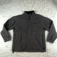 Chaps Ralph Lauren Vintage Fleece Zip Up Jacket Men's Large L Gray Spellout EUC