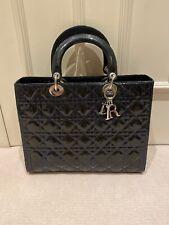 Dior Lady Dior Tote Bag Navy Patent